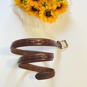 Fossil Brown Braided Leather Belt Gold Buckle